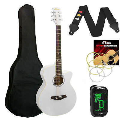 Tiger White Acoustic Guitar Pack for Students - Including FREE Tuner