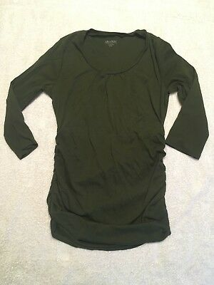 A Pea In The Pod Womens XS Ruched Shirt Top Maternity Olive Green 3/4 Sleeve