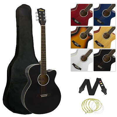 Tiger Full Size Beginners  Acoustic Guitar Package, Bag, Strap & Strings - Black