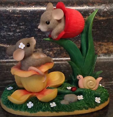 Harming Tails Special Edition Figurine Titled A Budding Romance Mice In Flowers