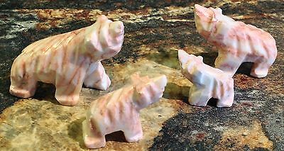 4 Pc Bear Family Stone Carved Rose Pink Marble