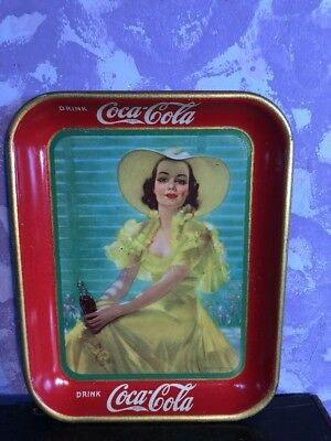 AUTHENTIC Vintage COKE COCA COLA 1938 ADVERTISING SERVING TIN TRAY
