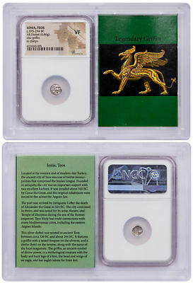 Ionia Teos Silver Diobol c.375-294 BC Griffin/Chelys NGC VF Story Vault SKU52877