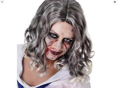 Curly Grey Old Granny Women Zombie Wavy Wig For Halloween Party Adult One Size