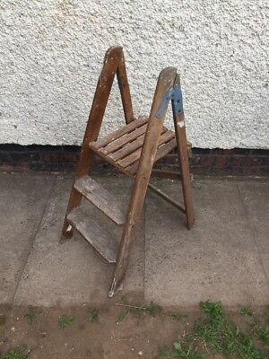 Vintage Wooden Stepladder - 2 Step & Top Platform