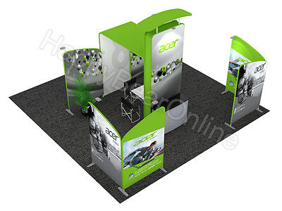 Trade show waveline 20ft x 20ft fabric exhibition booth Dye sublimation graphic