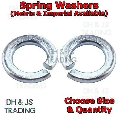 """Spring Washers Metric & Imperial Sizes 5mm - 20mm BZP DIN127B (3/16""""  -"""" 3/4"""")"""