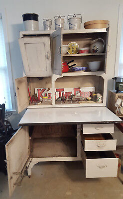 Hoosier Style Vintage Kitchen Cabinet and Contents