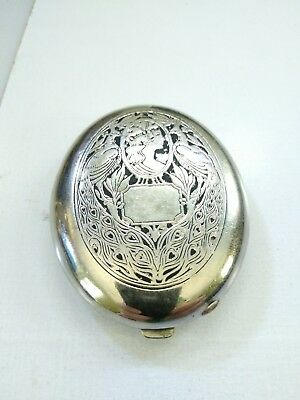 Antique Engraved Art Nouveau Fitch Cosmetic Compact Peacocks & Lady