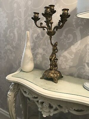 Antique Vintage Solid Brass Goddess Candelabra Candlestick French Louis Rococo