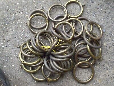 Collection Of 34 Vintage Brass Curtain Rings