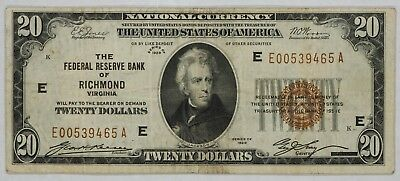 1929 $20 Federal Reserve Bank Of Richmond Virginia Note Choice Vf (465A)