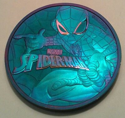 2017 Tuvalu marvel spiderman 1oz silver coin , awesome toning, toned**
