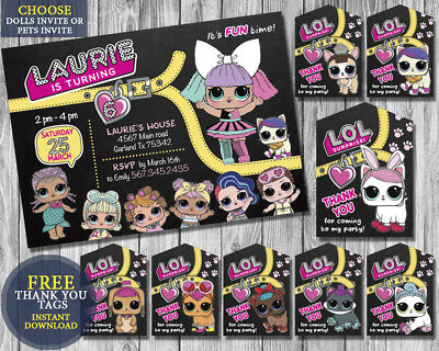 Lol Surprise Doll Girl Birthday Party Invitation Personalized - You Print