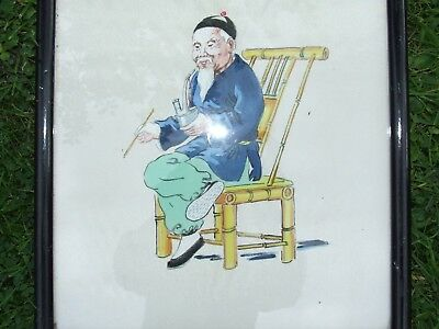 l old picture painting on silk oriental man
