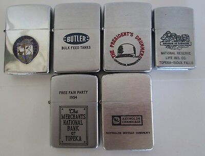 6 LOT Vintage Cigarette Lighters Advertising Zippo Ronwal Idealine Viet Nam 1954