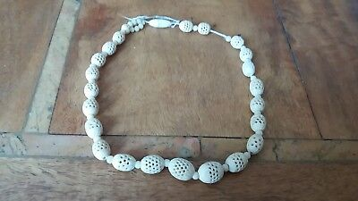 Antique/Vintage Chinese Graduated Bovine Bone Hand Carved  Beaded Necklace
