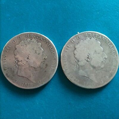 2 - George III sterling silver crowns, 1818 and 1820  54.6 grams weight.