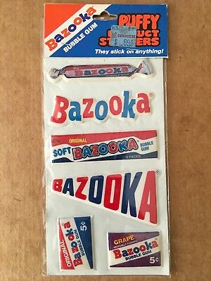 Vintage Bazooka Bubble Gum Puffy Product Stickers 1982 Gordy Topps MIP Sealed