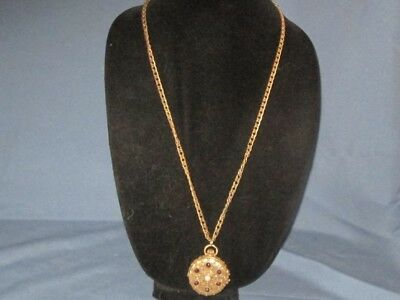 Vintage Gold-Tone Metal Red Rhinestone Faux Pearl Solid Perfume Pendant Necklace