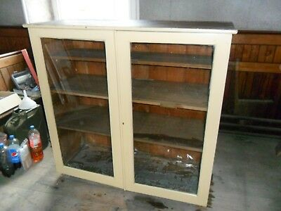 Large Glass Fronted Antique Pine Kitchen Cabinet Made in 1934