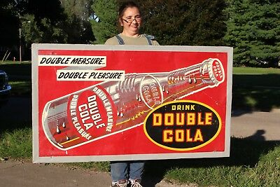 "Rare Large Vintage 1947 Double Cola Soda Pop Gas Station 56"" Embossed Metal Sign"