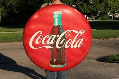 "Large Vintage 1950s Coca Cola Soda Pop Bottle Gas Station 36"" Curved Button Sign"