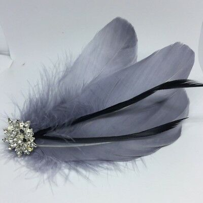 Silver Grey & Silver Feather Fascinator Headpiece Diamante Hair Clip Vintage