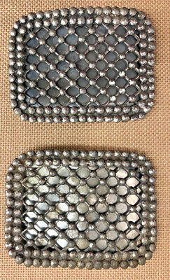 pair of 2 antique vintage shoe clips buckles • cut steel,  great design!