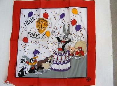 """Looney Tunes bandana - Warner Brothers 50th Anniversery """"That's 50 Folks"""""""