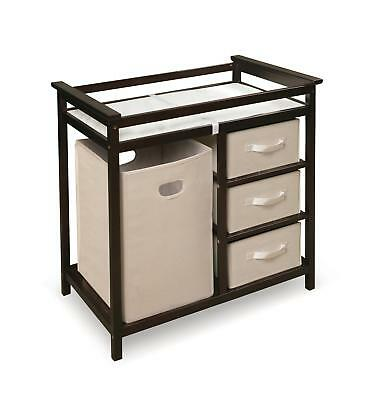 Modern Changing Table with Three Baskets & Hamper Espresso