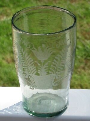 ca.1750-1780 Early 18th Century Etched Flip Glass - Rare Form