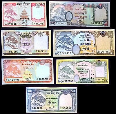 Complete Set of 7 Nepal 5 -1000 Rupee Currency Notes Mt Everest NEW UNC