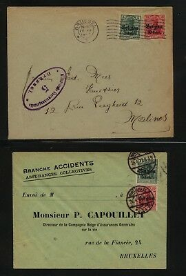 Belgium  German occupation multiple franking   2  covers           MS0712