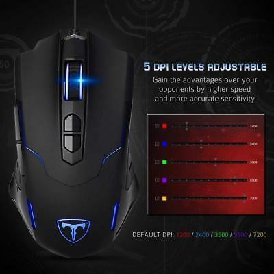 Pictek 7 Buttons Computer Gaming Mouse Wired 7200 DPI Programmable Breathing