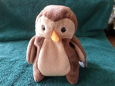 Mwmt Errors Ty Beanie Baby Hoot The Owl Pvc Pellets Mint With Mint Tag