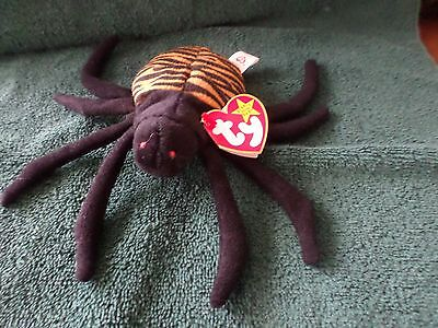 "Mwmt Error Missing ""uk"" Ty Beanie Baby Spinner Spider Pvc Pellets Mint"
