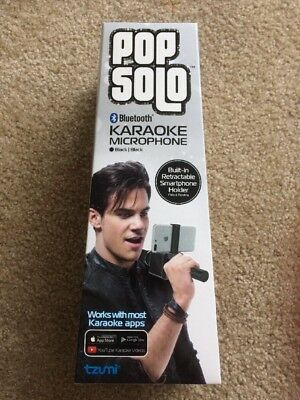 PopSolo Bluetooth Karaoke Microphone and Speaker With Retractable Smartphone ...