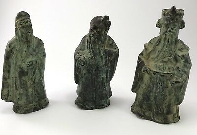 antique 19th century Chinese Bronze Temple Statue Of Immortals.