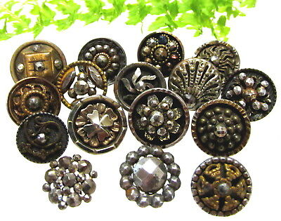 Sparkling Lot Of 16 Victorian Cut Steel Buttons Z120