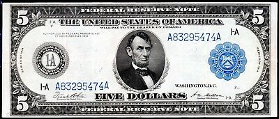 """104 YEAR-OLD 1914 LARGE-SIZE $5 """"TYPE-A"""" BOSTON FR-847a"""