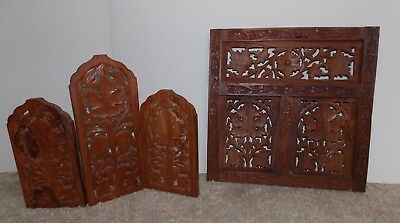 Hand Carved Wood Panel Wall Hanging and Folding Trifold Divider Carved Nature