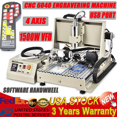 1500W 4 Axis 6040 Usb Desktop Cnc Router Engraver Milling Machine Engraving + Rc