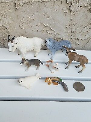 Schleich Goat Kudu Antelope Wolf Mouse Seal Chipmunk African Animal Lot of 7