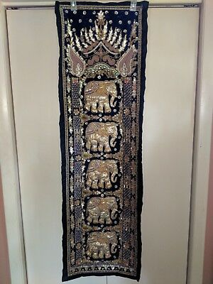 Antique/Vintage Burmese Kalaga wall hanging beaded embroidered elephant tapestry