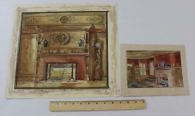 Antique Victorian Interior Design Architectural Watercolor Paintings, C Chapman