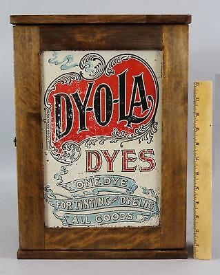 Small Antique Country Store Display Cabinet, Dy-O-La Dye, Tin Advertising Signs