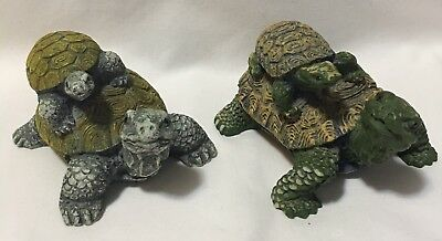 Set Of 2 Turtle Figurines Turtles With Baby Turtles On Back Home Decor