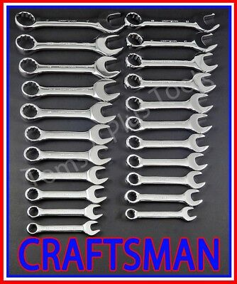 CRAFTSMAN TOOLS 22pc FULL POLISH Stubby Combination SAE METRIC MM Wrench set !