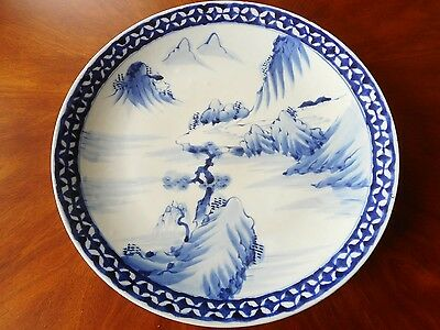 Antique - Old ? Chinese Blue & White Porcelain Charger - Large & Signed